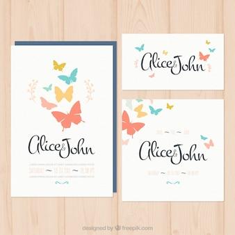 invitation de mariage avec des papillons