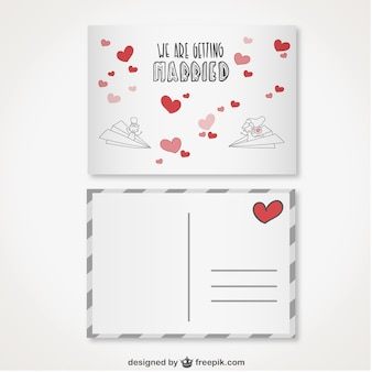 Invitation de mariage de style de carte postale rétro