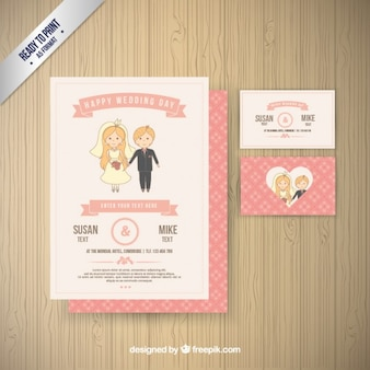 Invitation de mariage rose