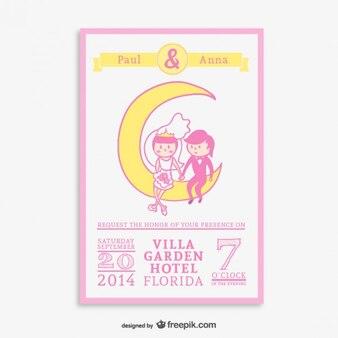 Invitation dessinées à la main de bande dessinée de mariage