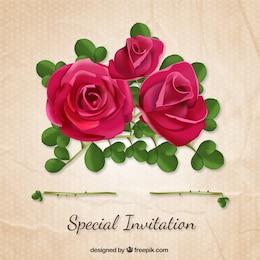 Invitation spéciale avec des roses