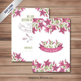 invitations de mariage avec des fleurs