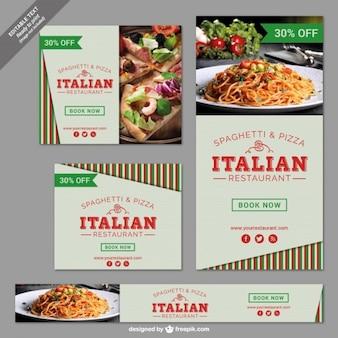 Restaurant italien banner set
