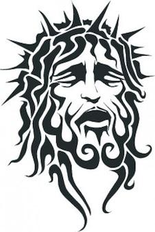 Jésus souffrant visage avec la couronne forte