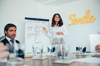 Jeune femme d'affaires donnant une présentation