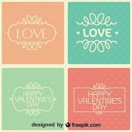 Jour de la collection de valentine de cartes rétro