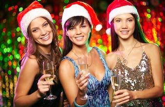 Joyeuse compagnie Santa lumières nouvel an