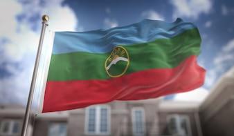 Karachay-Cherkessia Flag rendu 3D sur Blue Sky Building Background