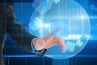 L'homme avec sa main dans la sphère numérique