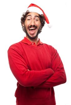 L'homme en riant avec le chapeau de père noël