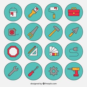 la collecte des icônes de construction