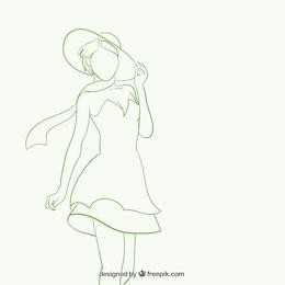 La silhouette de belle femme dans le style sommaire