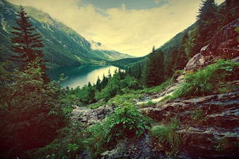 Lac dans les montagnes.