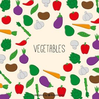 légumes dessinés à la main fond