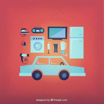 Les appareils électriques et une voiture