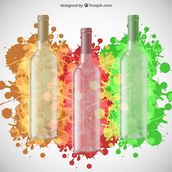 Les bouteilles de vin et des éclaboussures colorées de peinture