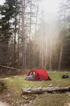 Les filles apprécient la nature dans une tente rouge