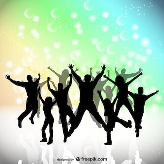 Les gens du parti saut heureux