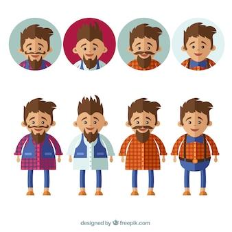 Les hommes avec barbe, moustache et une barbiche