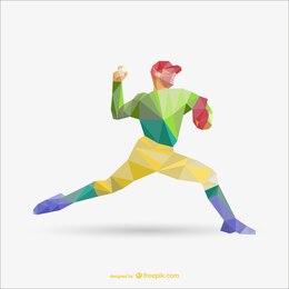Libre de dessin vectoriel de polygone de joueur de baseball