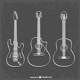 Ligne de guitare art illustration