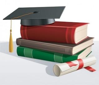 Livres scolaires avec chapeau universitaire