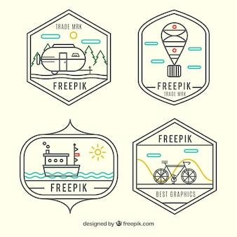 logos de transport dans le style hippie