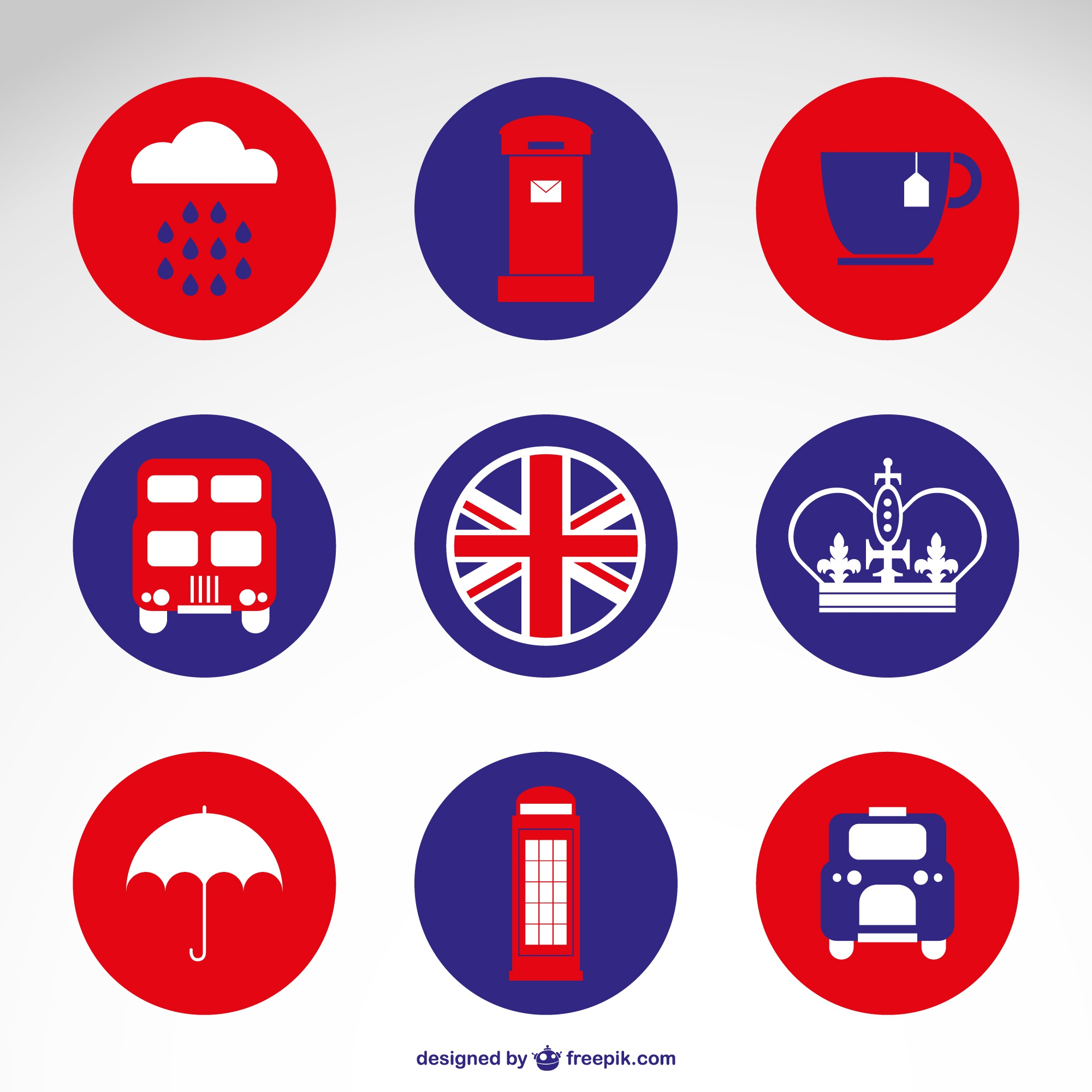 Londres badges gratuits plats