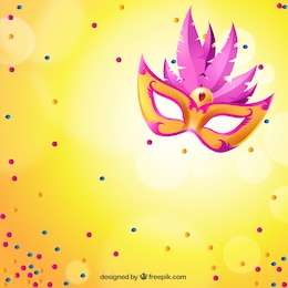 Lumineux masque de carnaval avec des plumes roses