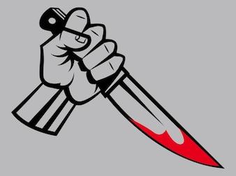 Main avec un couteau taché de sang
