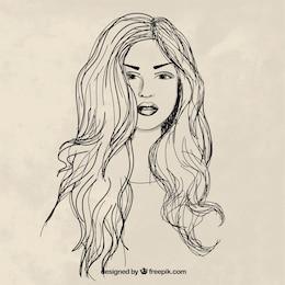 Main dessinée femme aux cheveux longs
