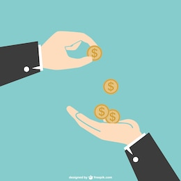 Mains avec des pièces de monnaie