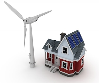 Maison avec un moulin à vent