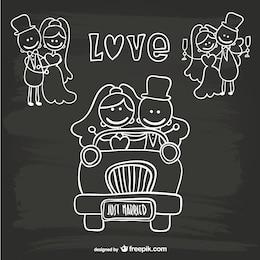 Mariage de dessin animé modèle vient de se marier