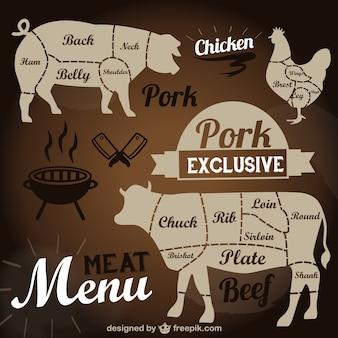 Menu viande modèle vectoriel