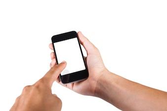 Mettez une partie de l'homme du corps tenant un téléphone intelligent isolé sur fond blanc avec de l'espace pour la copie.