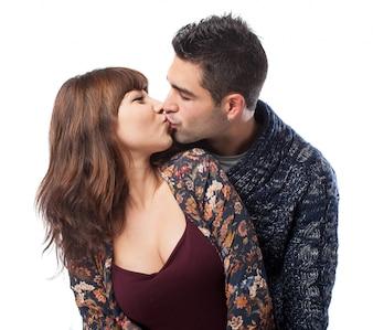 Mignon, couple, Baisers