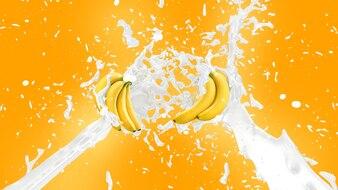 Milkshake de banane splash background