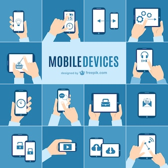 Appareils mobiles vecteur paquet