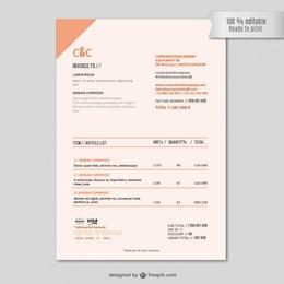 Modèle de facture vectoriel éditable