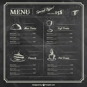 modèle de menu sur le tableau noir
