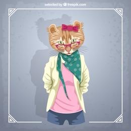 Modèle de mode féminine de chat