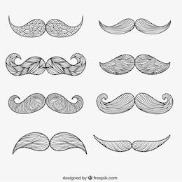 Moustache attirée main