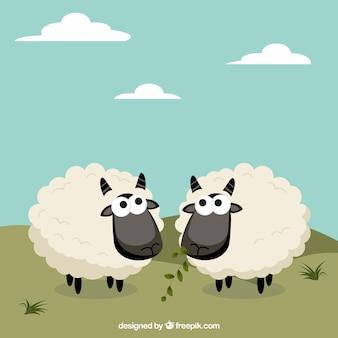 Moutons mignons dans un style de bande dessinée