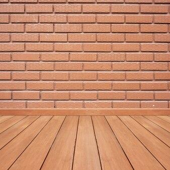 Murs en béton en béton et plancher en bois pour le texte et l'arrière-plan.