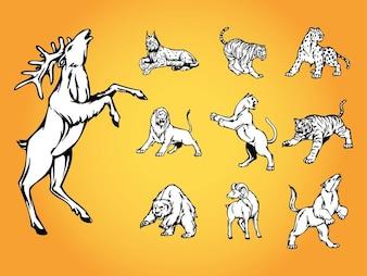 Nature sauvage logo vecteur animaux