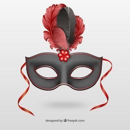 Noir masque de carnaval avec des plumes rouges