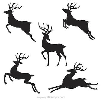 Noir silhouettes de rennes Pack