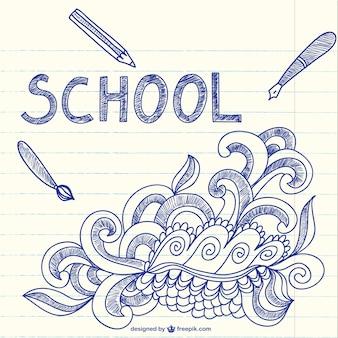 Ordinateur portable avec l'art de griffonnages sommaire de l'école