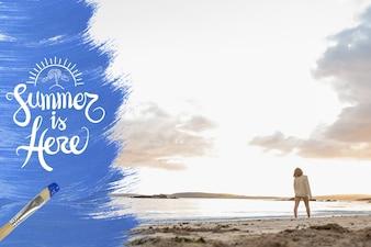 Nuages d'été en bois de style de vie de vacances